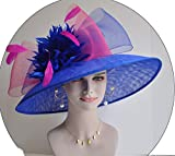 Wide Brim Kentucky Derby Sinamay hat with Feather Flowers Royal Blue with hot Pink and Orange
