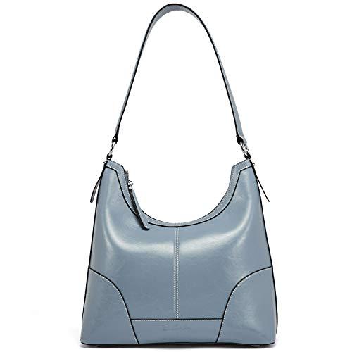 - BOSTANTEN Women Leather Handbag Designer Hobo Shoulder Bag Tote Purses Light Blue