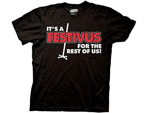 Ripple Junction Seinfeld It's a Festivus for The Rest of Us with Pole Adult T-Shirt Medium Black (Festivus For The Rest Of Us Shirt)