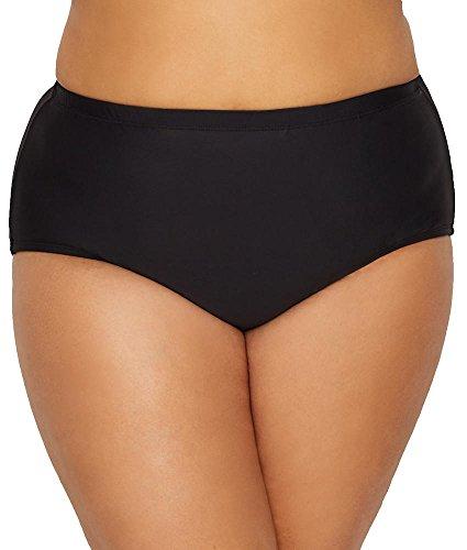 24th & Ocean Women's Plus Size Solid High Waist Hipster Bikini Swimsuit Bottom, Black, 22W