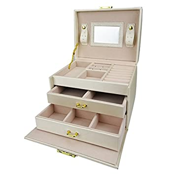 Lanscoe Jewelry Box Lockable and Travel Jewelry Organizer Mirrored Jewelry Box Storage Case Gift for Women Girls White