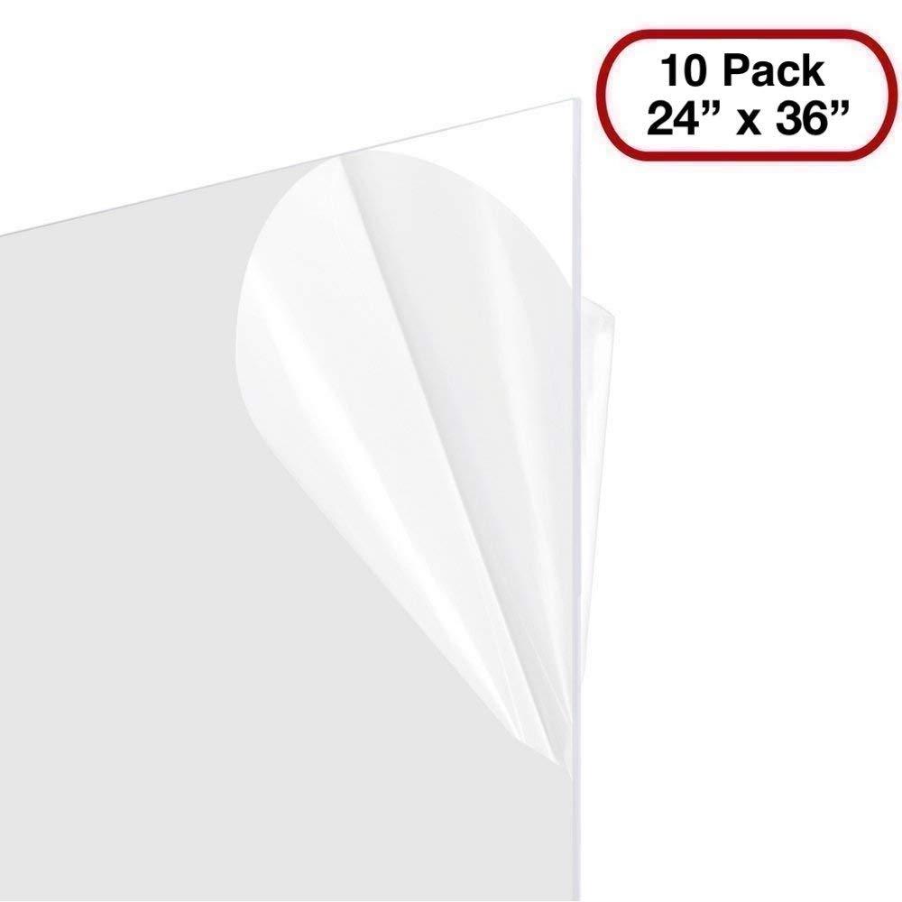 Plexiglass Sheet 24x36 .60 PETG, Clear, 1/16th'' (Set Of 10 Sheets) by BarnwoodUSA LLC
