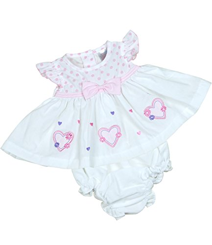 (BabyPrem Preemie Baby Dress & Knickers Set Hearts Girls Clothes 3.5-5.5lb White P2)