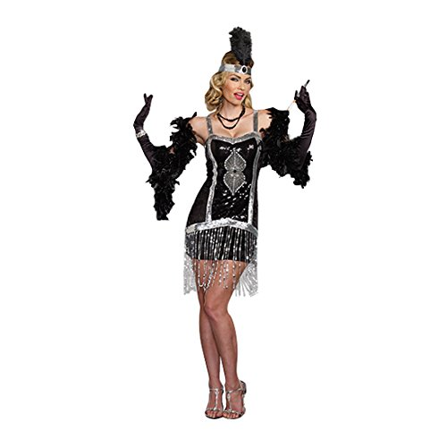 Dreamgirl Women's Simply Fab 1920's Flapper Costume, Black, Small