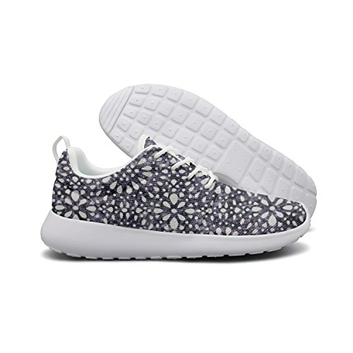 Saerg Bearry Women's Abstract Dot Navy White Lightweight Mesh Running Shoes Print Sneakers Dot Canvas Rug