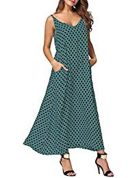 60dce9aac Women Casual Boho Plus Size Summer Maxi Dresses Polka Dot/Floral Printed  Adjustable Strappy Dress