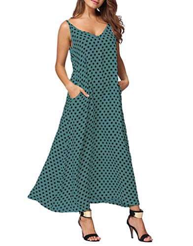 Exlura Women Casual Boho Plus Size Summer Maxi Dresses Polka Dot/Floral Printed Adjustable Strappy Dress with Pockets ()