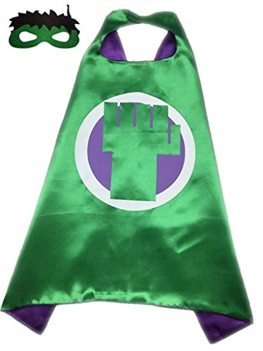 [Superhero or Princess CAPE & MASK SET Kids Childrens Halloween Costume (Green & Purple (Incredible Hulk))] (Incredible Hulk Costume Kids)