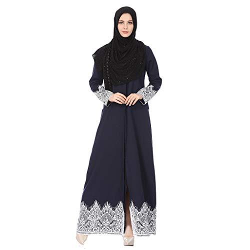 Sunyastor Muslim Women Lace Trimmed Front Abaya Maxi Kaftan Kimono Temperament Slim National Style Lace Robes Long Dress Blue