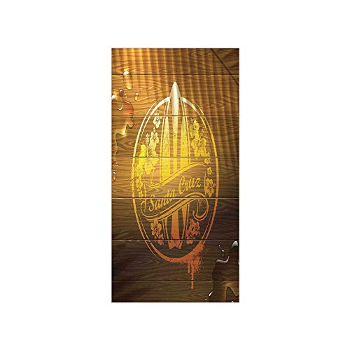 Decorative Privacy Window Film/Surfboard Illustration with Flowers Riding Waves on The Surface of The Water Theme/No-Glue Self Static Cling for Home Bedroom Bathroom Kitchen Office Decor Brown Yellow (Ripple Wave Board)