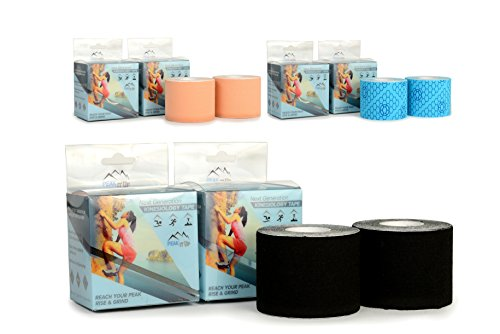 Peak It Up Next Generation Kinesiology Tape, 2' x 16.4', 2 pack- Perfect Support to Reduce Pain & Improve Recovery - Super Adhesive & Elastic Stretch by Peak It Up