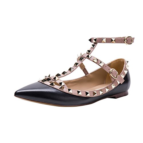 Studded Ballerina Flat - Kaitlyn Pan Pointed Toe Studded Strappy Caged Ballerina Leather Flats