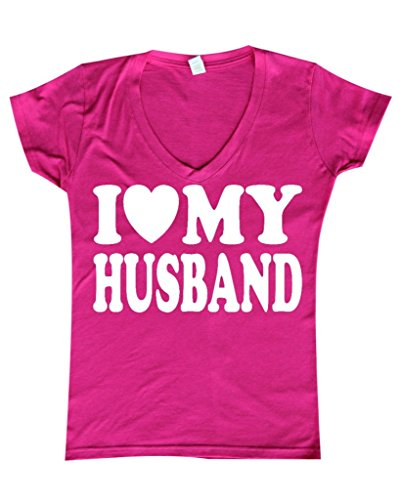 I Love Husband Women V Neck T Shirt Spouse Clothing Medium Azalea Pink