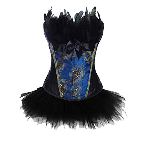 Kiwi-rata Women's Sexy Burlesque Peacock Feather Boned Corset Costume Bustier Dark Blue with Tutu Skirt (Adult Peacock Tutu)