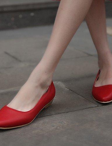 Scarpe Finta Rosso punta lavoro Bianco Red Ballerine Nero Casual Tempo Donna Ufficio pelle ShangYi libero e A Piatto gFSxRnH