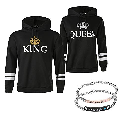 YJQ King Queen Matching Couple Hoodies His and Her Pullover Hoodie Sweatshirts and Bracelets (Men 2XL + Women L, Black02/Hoodies+Bracelets)
