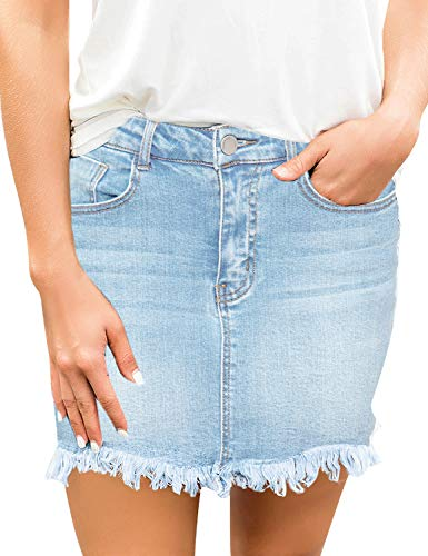 luvamia Women's Casual Mid Waisted Washed Raw Hem Pockets Denim Jean Short Skirt Light Blue Size Large
