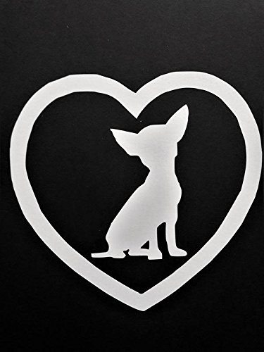 Chihuahua Dog Breed Love Vinyl Decal Sticker|WHITE|Cars Trucks Vans SUV Laptops Wall Art|5.25