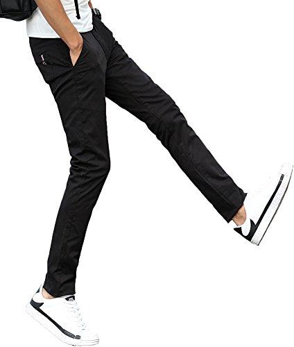 Plaid&Plain Men's Stretchy Khaki Pants Black (Cotton Plaid Trousers)