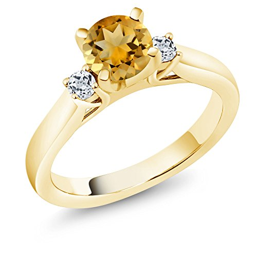 Citrine White Topaz 18K Yellow Gold Plated Silver Ring ()