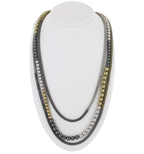 Silver Gold Tone Gunmetal Mesh Beads Multi Strand Long For Women