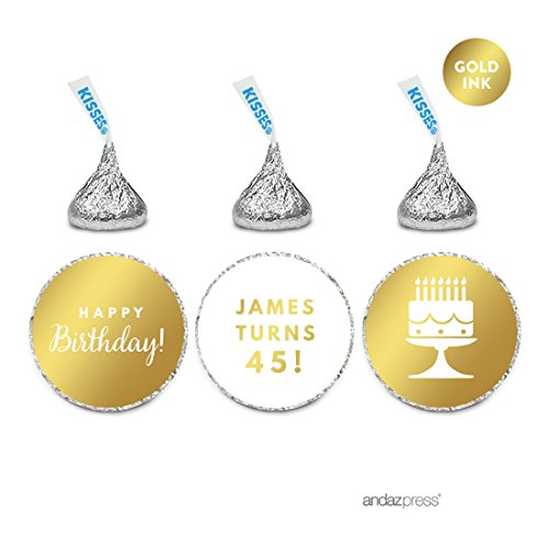 Andaz Press Personalized Chocolate Drop Labels Trio, Metallic Gold Ink, Happy Birthday, 216-Pack, Fits Hershey's Kisses, Custom Made Any Name, Not Gold Foil, Gold Stationery, Invitations, Decorations
