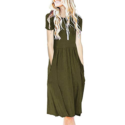 (IMBOAZ Women's Short Sleeve Pleated Empire Waist Loose Swing Plain Casual Midi T Shirt Flare Dress with Pockets, Darkgreen, Small)