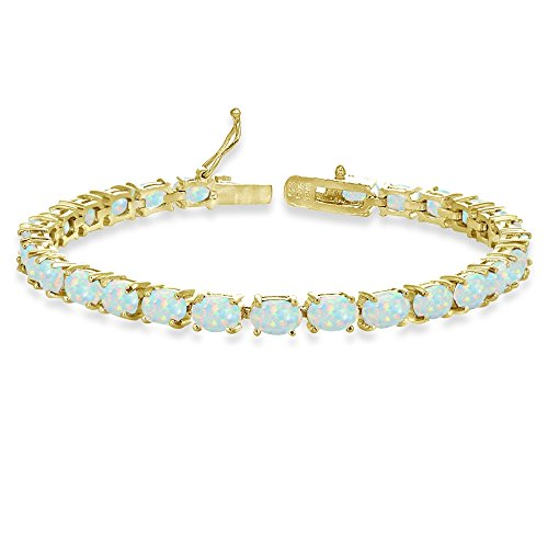 Opal Oval Bracelets (Yellow Gold Flashed Sterling Silver 6X4mm Simulated White Opal Oval-cut Tennis Bracelet)