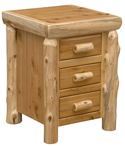 - Fireside Lodge Furniture Cedar Hand Crafted Cedar Log Three Sliding Drawers Free Standing Nightstand, Traditional Cedar