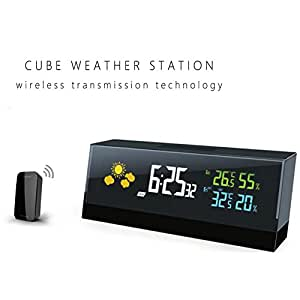 Yimai Weather Station Wireless Sensors Alarm Clock with USB Charging Port,Digital LCD Display Clock Indoor/Outdoor with Humidity/Temperature/Forecast Monitor