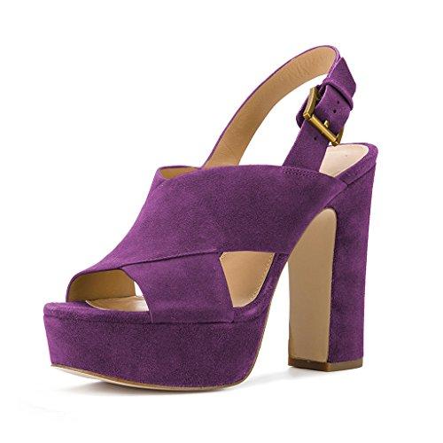 Ydn Womens Peep Toe Platform Sandali A Tacco Alto Grosso Tacco A Spillo Con Zeppa Scarpe Chic Viola