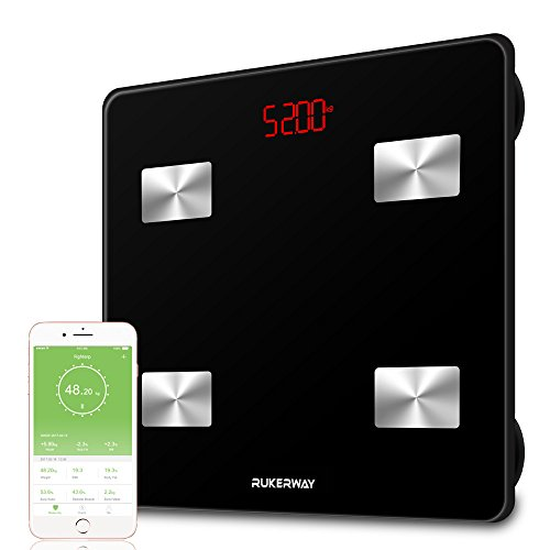 Rechargeable Scale (RUKERWAY Bluetooth Fat Scale,Smart Bathroom Scale Body Composition Analyzer with  iOS and Andriod APP for Body Weight, BMI, Muscle Mass,Water, Protein, Bone Mass and Visceral Fat etc)