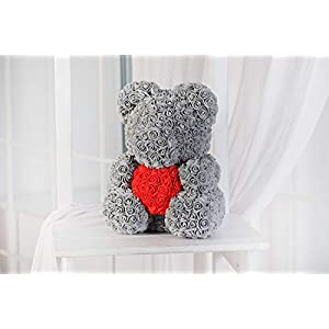 Teddy Bear Rose - Grey, Rose Bear, Forever Rose Bear, Love Bear, Faux Flower Rose Teddy Bear, Forever Grey Rose Bear 16