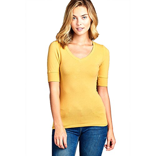 Active USA Womens Basic Elbow Sleeve V-Neck Cotton T-Shirt Plain Top (Plus