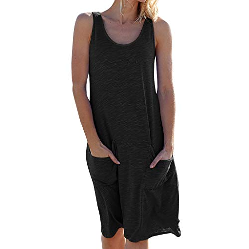 YKARITIANNA Womens Holiday Summer Solid Sleeveless Party Beach Dress 2019 Summer Black