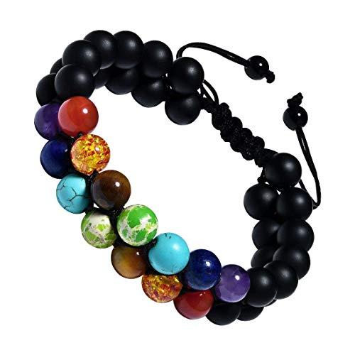 CAT EYE JEWELS Adjustable Beads Bracelet 8mm Double Layer 7 Chakra Natural Energy Healing Stone B010