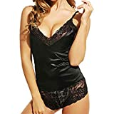 Fitfulvan Strap Sleepwear Fashion Sexy Sling Lace Lingerie Temptation Underwear Nightdress(Black,Asian XXXL = US XXL)
