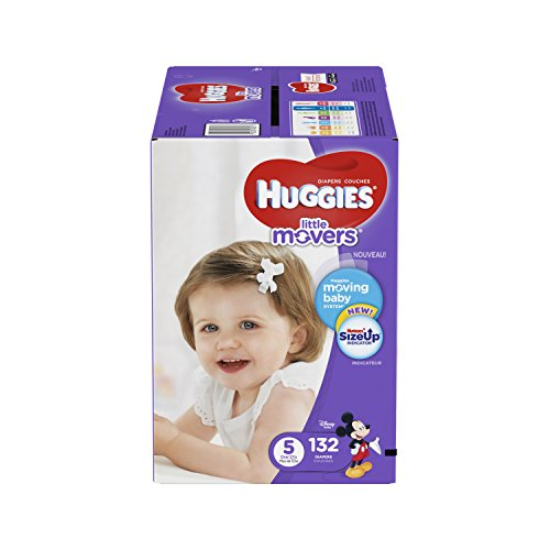 : HUGGIES LITTLE MOVERS Diapers, Size 5 (27+ lb.), 132 Ct. (Packaging May Vary), Baby Diapers for Active Babies