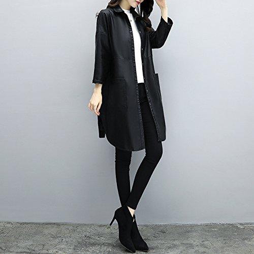 Las niñas Mayihang abrigo largo abrigo de cuero Casual Vestido suelto Negro