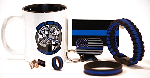 Saint Michael's Shield and Sword Coffee Cup w/Ultimate Thin Blue Line Gift Pack (7) Piece Set (Enforcement Mugs Law)