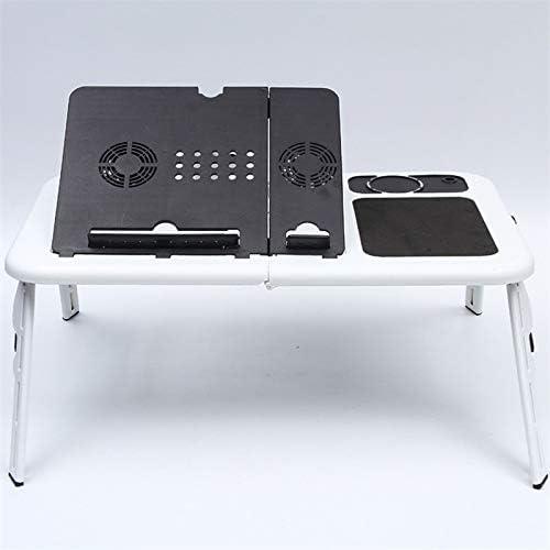 多機能ラップトップテーブルスタンド折りたたみデスクベッドコンピュータ研究アジャスタブルポータブルソファトレイUSB冷却床ノートブックスタンド,C