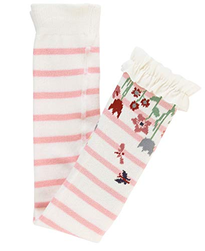 RuffleButts Baby/Toddler Girls Ballet Pink and Ivory Stripe Floral Footless Ruffle Tights - 12-24m