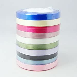 SATIN RIBBON BUNDLE 10 X 1 METRE X 10MM - ASSORTED COLOURS - IDEAL FOR CRAFTS/SCRAPBOOKING/GIFTWRAP/WEDDINGS by Libbyshouse