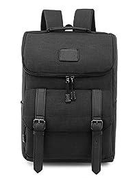 Weekend Shopper Lightweight Canvas Backpack Laptop Rucksack Bookbag Knapsack for School Outdoor Travel Hiking BLACK - Life Warranty