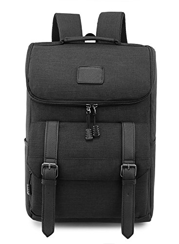 Weekend Shopper Lightweight Canvas Backpack Black Laptop Bookbag College backpack Vintage Backpack Laptop Backpack for Women and Men fit 15.6 Laptops ()