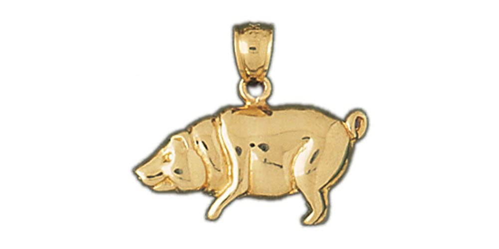 14k Yellow Gold Pig Pendant