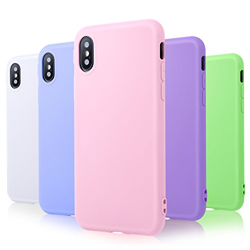 Pofesun Silicone Case for iPhone Xs (2018)/ iPhone X(2017) 5.8 inch, 5 Pack Ultra Slim Thin Soft TPU Rubber Gel Phone Case Cover Compatible with iPhone 10/X/XS - White,Pink,Mint,Purple,Blue
