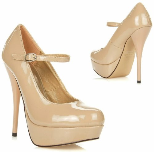 cda45bab47f JJF Shoes N16 Nude Patent Leather Mary-Jane Ankle Strap Platform Stiletto  High Heel Pump Shoes-8
