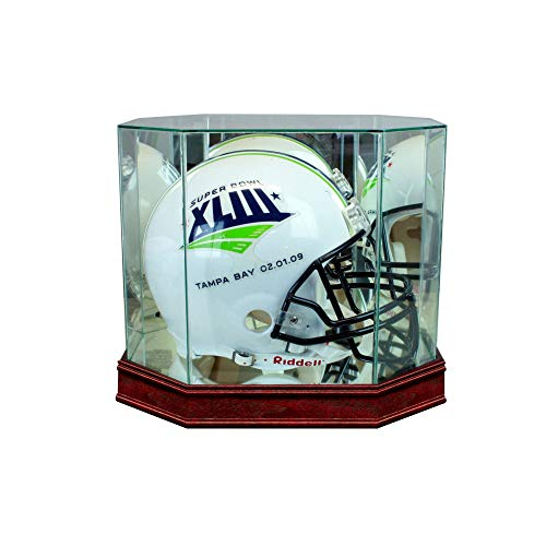 - Perfect Cases NFL Octagon Full Size Football Helmet Glass Display Case, Cherry