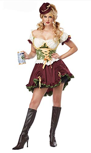 Octoberfest Lederhosen Costumes Maid Cosplay Dirndl Dress for Women]()